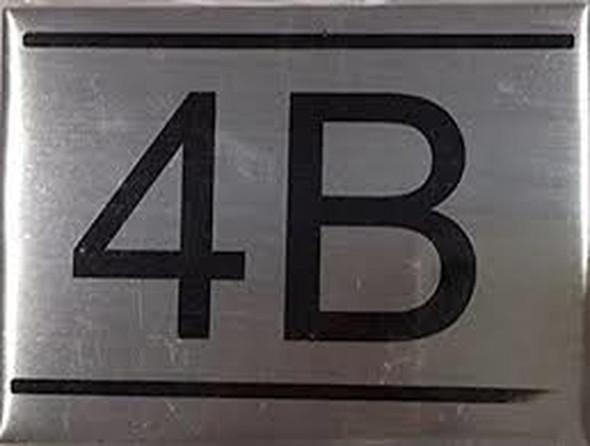 APARTMENT NUMBER SIGN -4B -BRUSHED ALUMINUM
