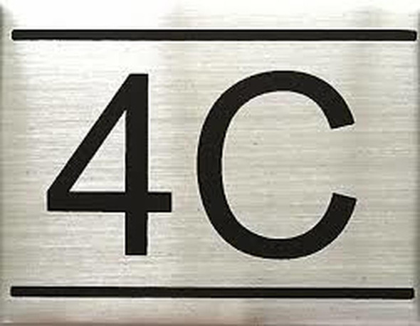 APARTMENT NUMBER SIGN -4C -BRUSHED ALUMINUM