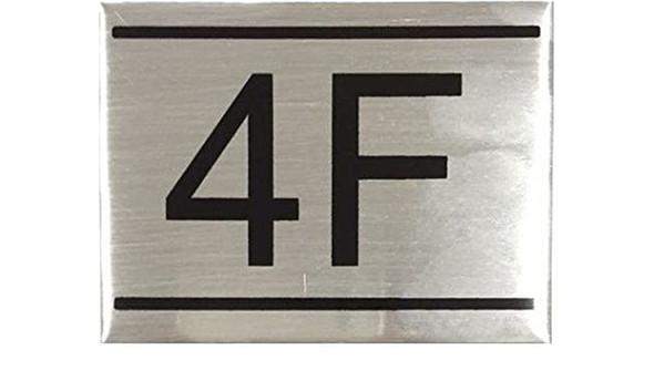 APARTMENT NUMBER SIGN -4F -BRUSHED ALUMINUM