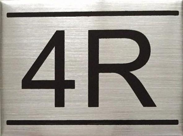 APARTMENT NUMBER SIGN -4R -BRUSHED ALUMINUM