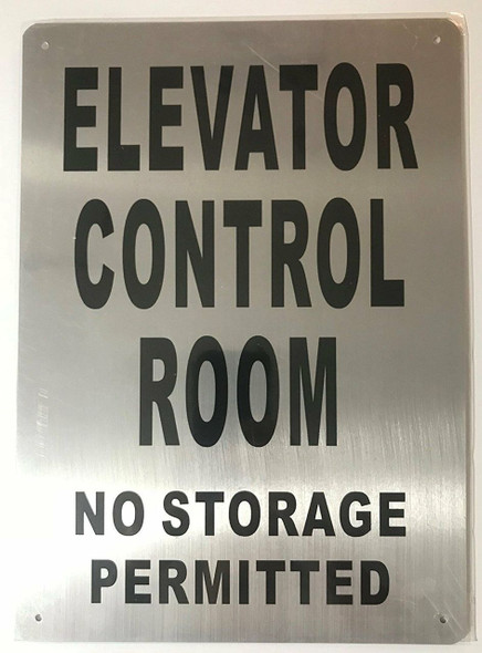 ELEVATOR CONTROL ROOM SIGN (Brush AluminiumRust FreeALUMINIUM)