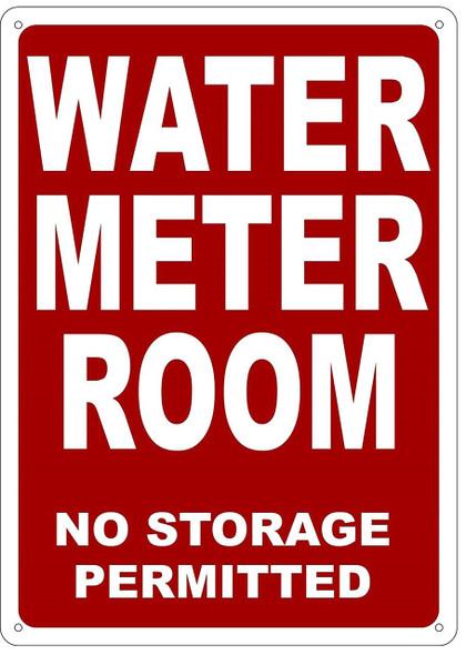WATER METER ROOM SIGN (Red, Reflective !!, ALUMINIUM )