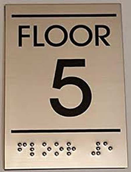 Floor Number Sign -Tactile Signs  FIVE (5)- BRAILLE-( Heavy Duty-Commercial Use ) Ada sign
