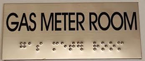 GAS METER ROOM SIGN - BRAILLE-STAINLESS STEEL