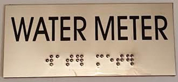 WATER METER SIGN - BRAILLE-STAINLESS STEEL
