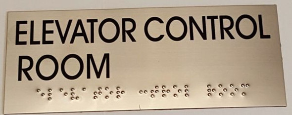ELEVATOR CONTROL ROOM SIGN - BRAILLE-STAINLESS STEEL