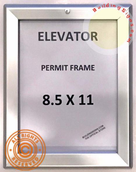 Elevator Permit FRAME (Lockable !!!, Silver, Heavy Duty, Aluminum)