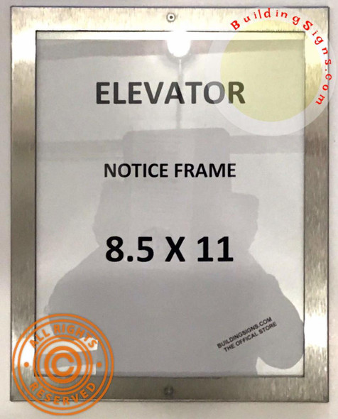 Elevator Notice FRAME (Lockable !!!, Stainless Steel, Heavy Duty-Commercial use)