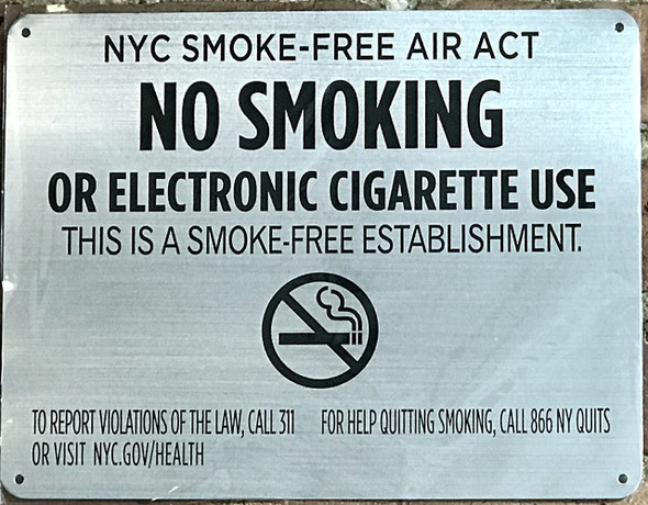 "LOT OF 5 - NYC Smoke free Act  ""No Smoking or Electric cigarette Use""-FOR ESTABLISHMENT"