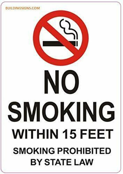 4 PCS -No Smoking Within 15 Feet Sticker