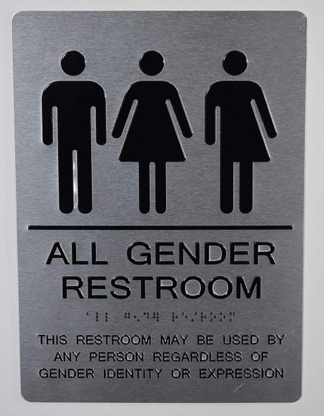 All Gender Restroom Sign This Restroom May BE Used by Any Person REGARDLESS of Gender Identity OR Expression - The Sensation line -Tactile Signs Ada sign