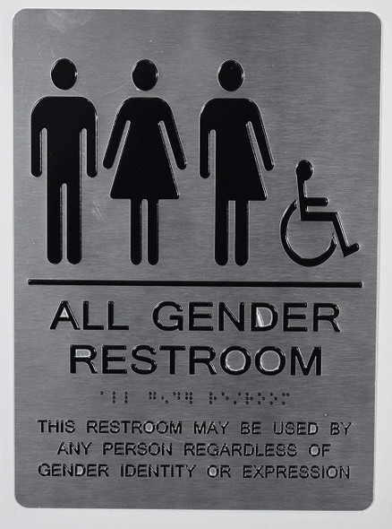 All Gender Restroom ACCESSIBLE  This Restroom May BE Used by Any Person REGARDLESS of Gender Identity OR Expression - The Sensation line -Tactile s
