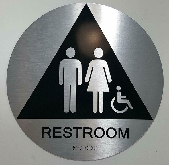 CA ADA Unisex Restroom ACCESSIBLE Sign -Tactile Signs  The Sensation line Ada sign