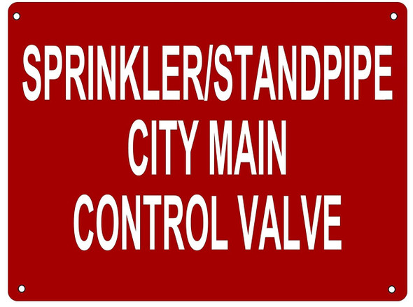 Sprinkler/Standpipe City Main Control Valve Sign