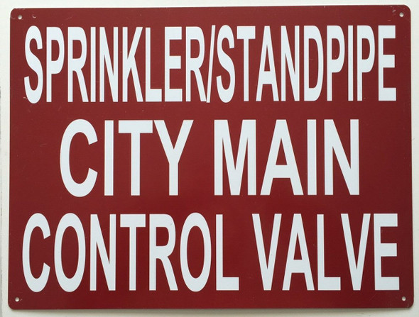 Sprinkler and Standpipe City Main Control Valve Sign