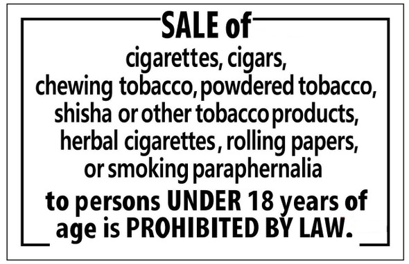 SALE OF CIGARETTES PROHIBITED UNDER 18 YEARS OF AGE