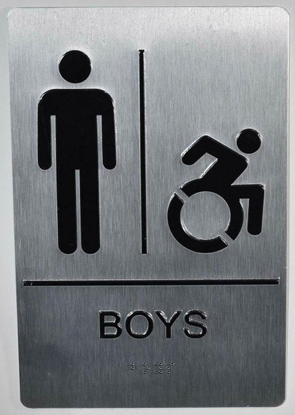 Boys ACCESSIBLE Restroom  with Tactile Text and Braille  -Tactile s The Sensation line
