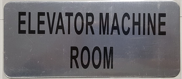 Elevator Machine Room Sign (Brush Aluminium)-The Mont Argent line.