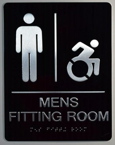 Mens accessible Fitting Room Sign -Tactile Signs Tactile Signs  ADA-Compliant Sign.  -Tactile Signs  The Sensation line Ada sign