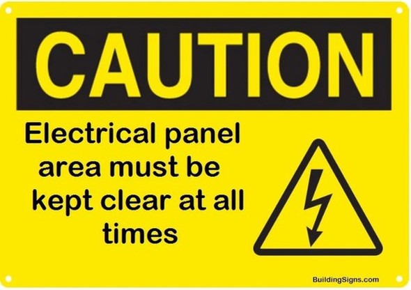 Electrical panel area must be kept clear at all times sign