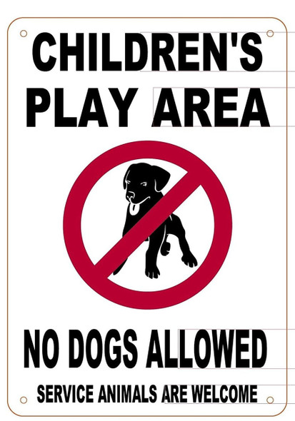 Children's Play Area No Dogs Allowed Notice Sign