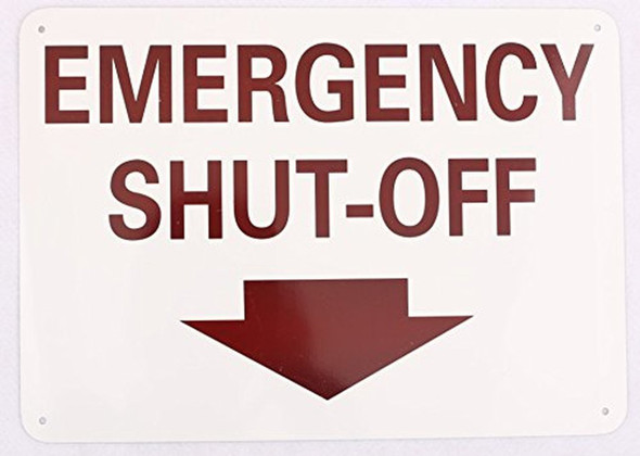 Emergency Shut Off Sign Arrow DOWN