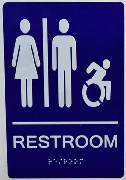 Unisex ACCESSIBLE Restroom - ADA Compliant Sign.  -Tactile Signs  The Sensation line Ada sign