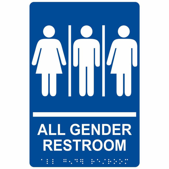 All Gender Restroom Sign with Braille and Raised Letters Tactile Signs Ada sign