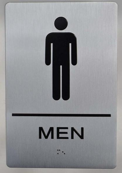 MEN RESTROOM silver SIGN