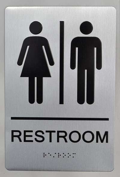 UNISEX RESTROOM sign silver ada