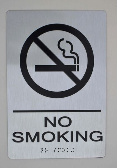 NO SMOKING SIGN ada silver