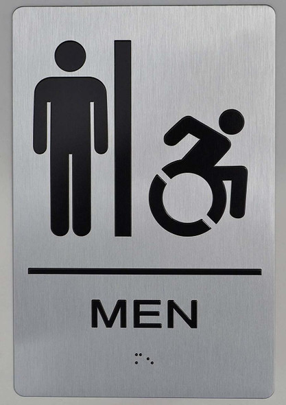 NYC Men Accessible Restroom Sign  -The Sensation line -Tactile Signs  Braille sign