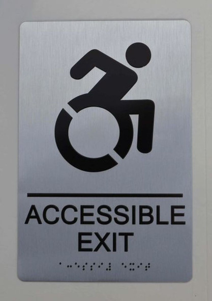 ACCESSIBLE EXIT Sign ADA Sign -Tactile Signs  The sensation line  Ada sign