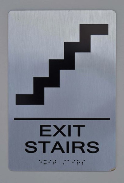 EXIT STAIRS  sign silver
