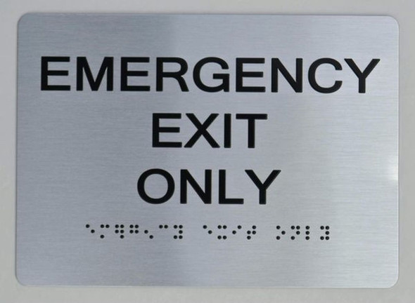 Emergency EXIT ONLY ADA SIGN The Sensation line -Tactile Signs   Ada sign
