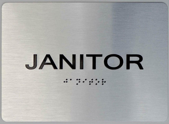 Janitor silver sign