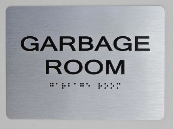 ada GARBAGE ROOM sign silver