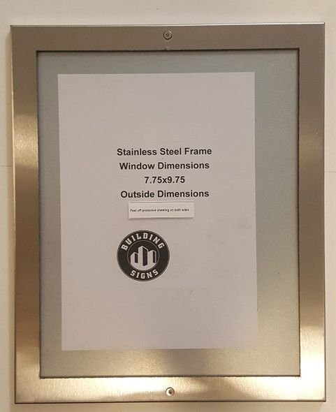 Elevator certificate frame 8x10 stainless Steel