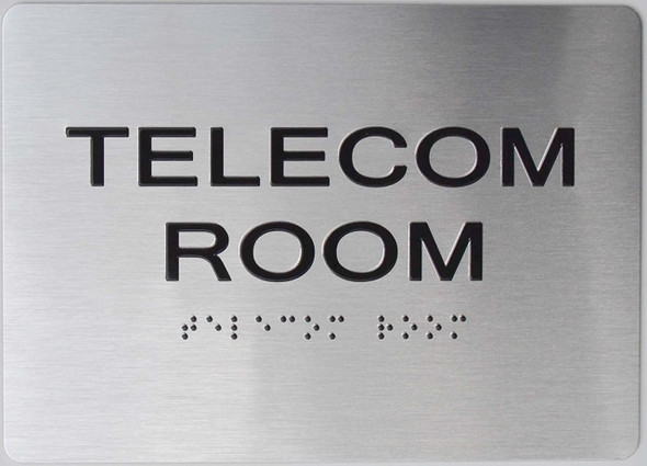 silver Telecom Room ADA Sign