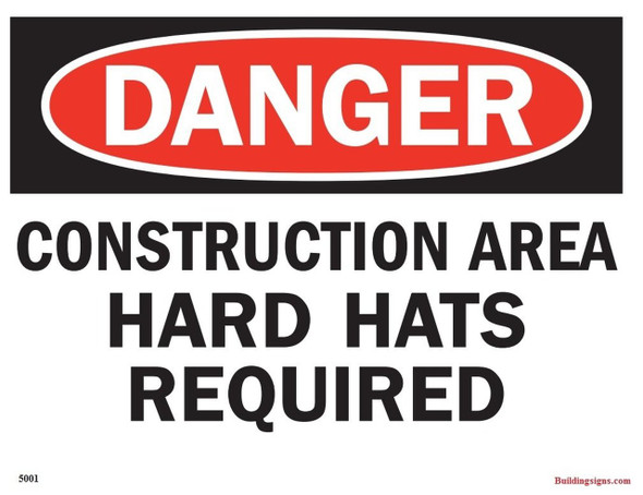 "Aluminium OSHA Safety Sign ""Danger Construction Area Hard Hats required"