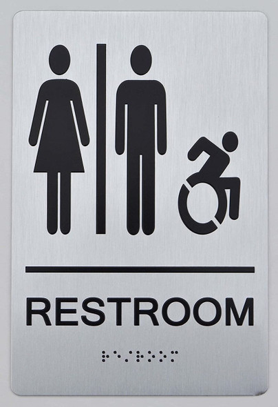 NYC Restroom Sign -Tactile Signs Accessible Restroom - ADA Compliant Sign.  -Tactile Signs The Sensation line Ada sign