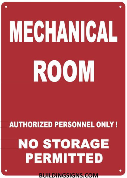 Mechanical Room Sign- RED - (Reflective !!! Aluminum, )