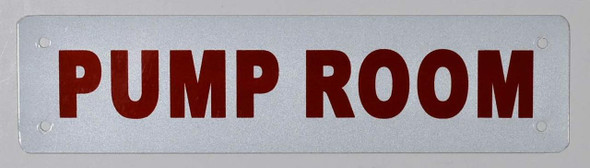Pump Room Sign (White Reflective, Aluminium)