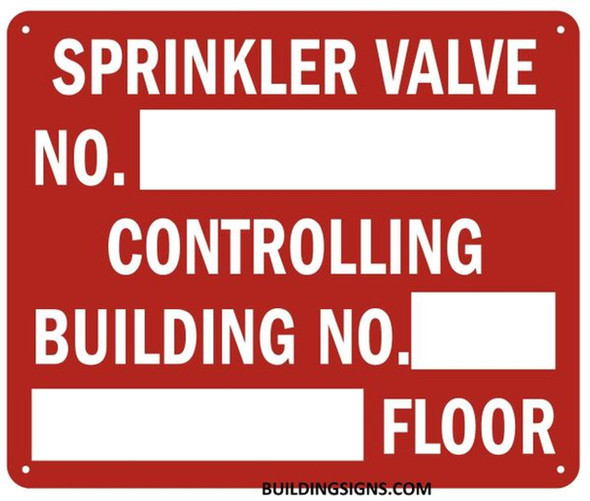 Sprinkler Valve Number Controlling Building Sign