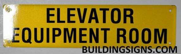Elevator Equipment Room Sign (Yellow, Reflective, Aluminium)