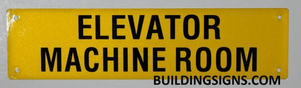 Elevator Machine Room Sign (Yellow, Reflective, Aluminium)
