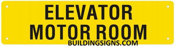Elevator Motor Room Sign (Yellow, Reflective, Aluminium)