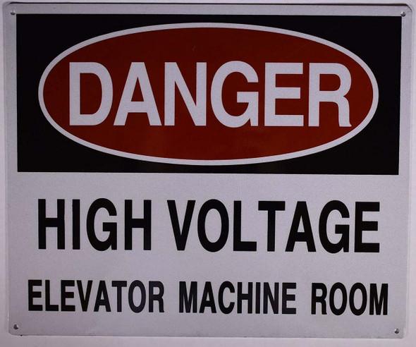 HIGH Voltage Elevator Machine Room Sign