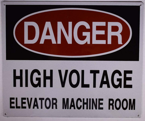 HIGH Voltage Elevator Machine Room Sign (Aluminium Reflective, White )