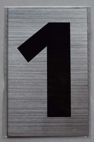 Apartment Number Sign- one (1) (Brush Aluminium
